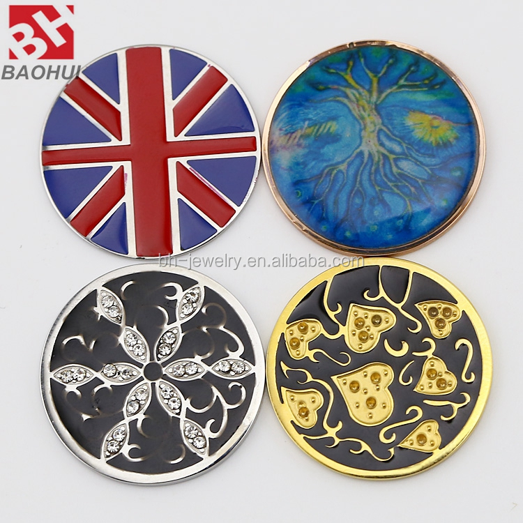 24/33MM Stainless Steel Popular Style High Quality Union Jack Floating Charm Locket Window Plates