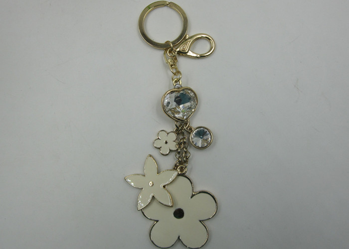 Golden And Silver Alloy Epoxy Flower KeyChain With Jewerly Key Chain Ring