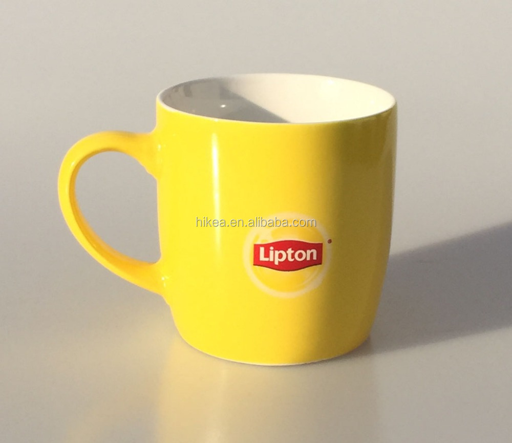 300ml ceramic new bone china promotional Advertising color coffee tea yellow stoneware mug with customized logo for Lipton