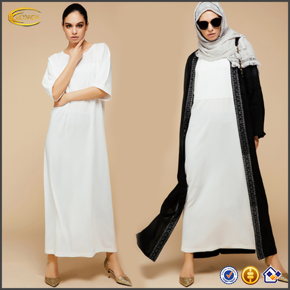 2016 Ecoach High fashion sample design kimono straight style women ladies short sleeve maxi white muslim dress with floor length