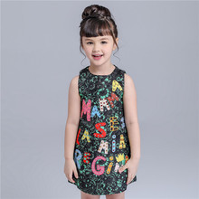 Summer Little Girl Princess One Piece Letter Flower Crystal Diamond Evening Dresses