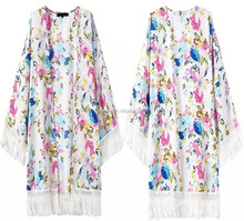 women Colorful Flower Printed Tassels Splice Batwing Kimonos designs chiffon fashion kimonos
