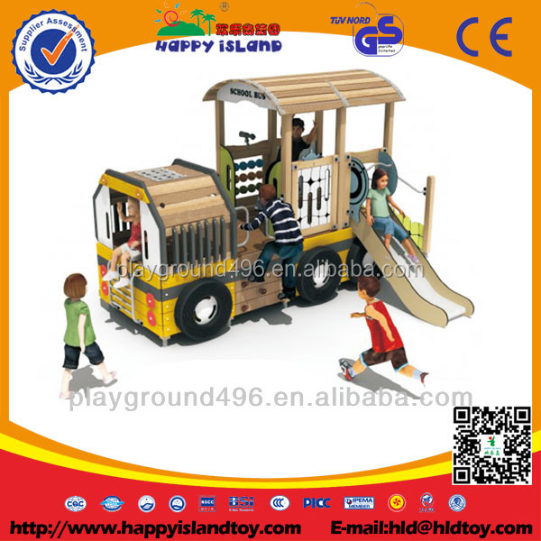 Train Theme Combined Slide Kids Outdoor Wooden Playground Equipment For Sale
