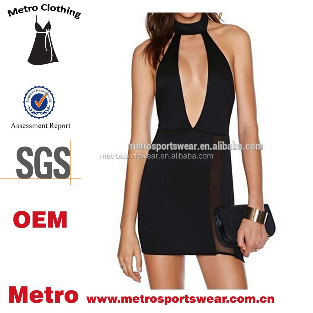 Fashion Sexy Lady Black Halter Deep V-neck Bodycon Party Dress