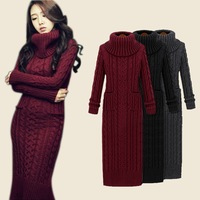 women autumn sweater dress long casual knitted loose dress for lady