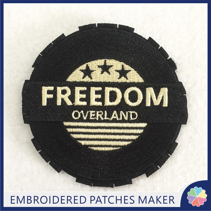 Custom Freedom LOGO Embroidery Patches Hook backing for