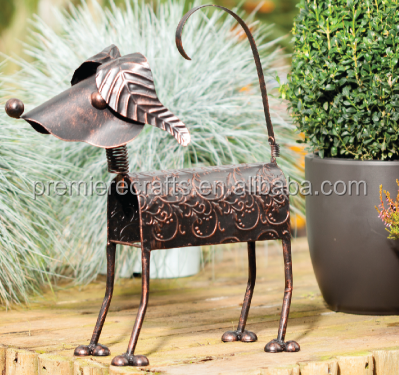 metal garden figure,metal dog ornament,cat garden decoratiom