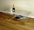 Contemporary Style Clear Acrylic Coffee Table W/ Shelf