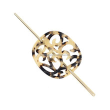 CELLULOSE ACETATE 2-PRONG HAIR STICK FORK WITH FLOWER IVORY