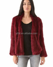 YR421 Australian Fashion Design Top Quality Hand Knitted Rabbit fur Jacket
