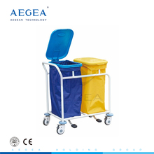 AG-SS019B medical patient ward room cleaning linen hospital trolley with 2 dust bag