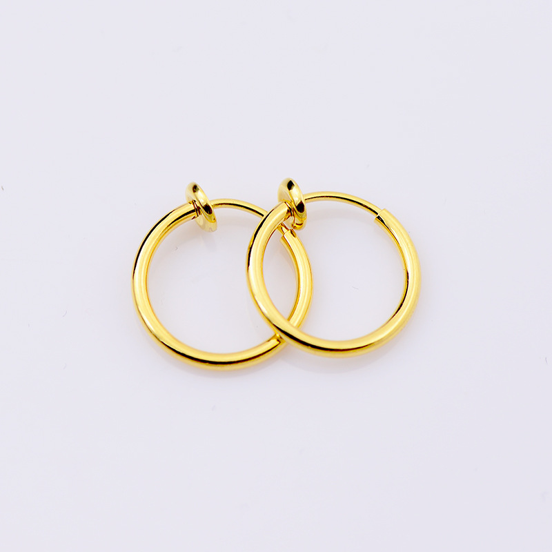 Fashion 1 pair Clip On Fake Nose Hoop Ring Ear Septum Lip Navel Earrings Body Non Piercing Black Jewelry