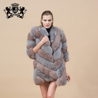 beautiful color winter women overcoat genuine fox fur coat with long style