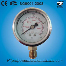 "60mm bottom mounting brass movement pressure gauge 2.5"" 400bar manometer with CE certified"