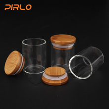60ml 2oz high borosilicate glass bottle airtight food jar with bamboo lid