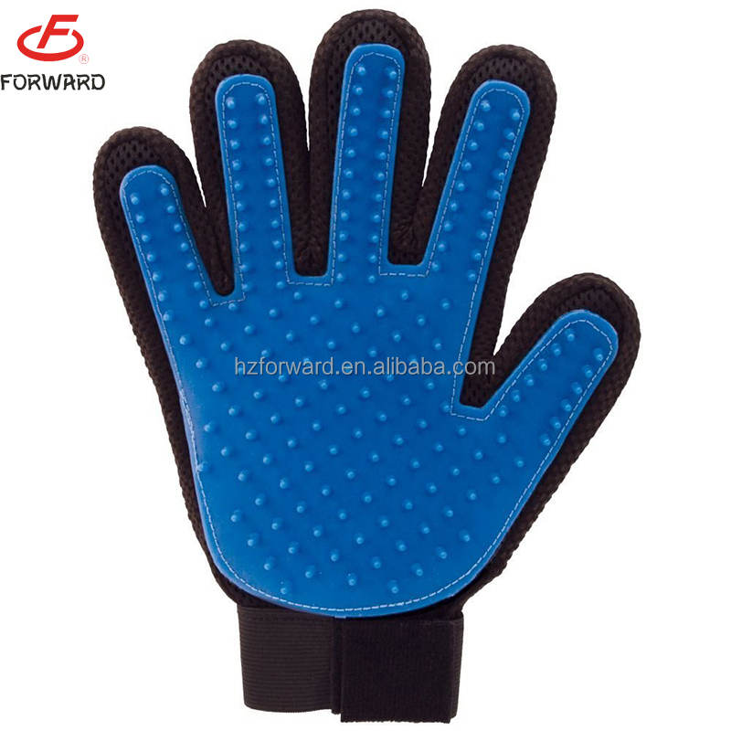 Pet Bathing Massage Glove Brush Dog Grooming Massage Gloves True Touch Five Finger Pet Glove