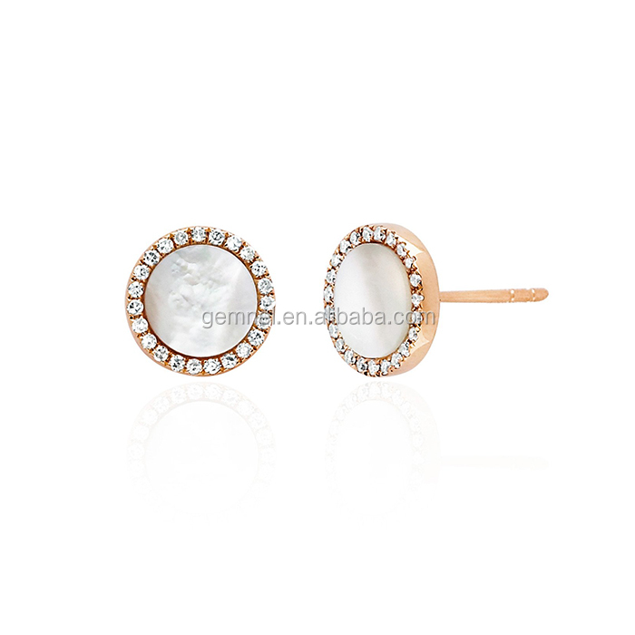 Mother of pearl diamond disc studs saudi gold jewelry earring sterling silver earrings