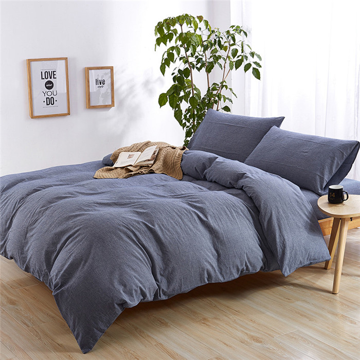 Top Selling Classic Comfortable Stone Washed 4 pcs Solid Color Bedding Sheet Set