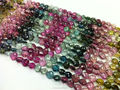 #CMZ Natural Semi-Precious Multi-Color Hear Faceted Loose Gemstone Tourmaline Beads