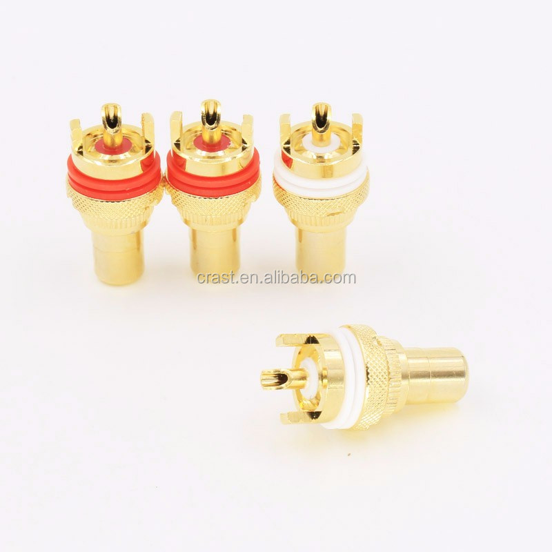 HIFI AMP Gold Plated Golden RCA Female Socket connector adapter plug