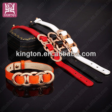 leather bracelets metal plate stainless steel bead bracelet 2014