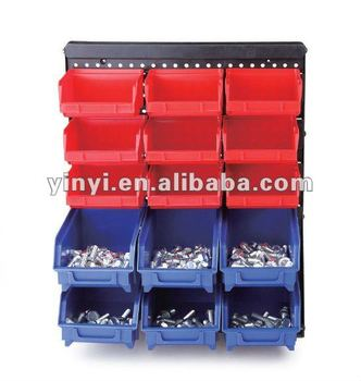 15 plastic storage bin kit, wall mount parts bins,combination boxes(202715)