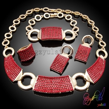 Dark red new designs jewelry sets wedding cherish jewelry sets wholesale cheap jewelry sets
