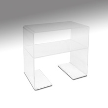 Modern elegant shape acrylic monitor tv display stand with drawer