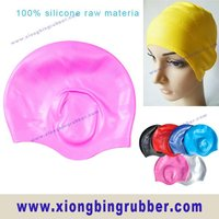 Waterproof silicone hair & ear protection swim cap for ladies