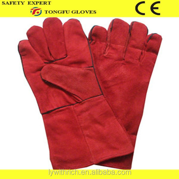 "14"" long red cow split leather safety glove/cow split leather welding glove/leather working glove with CE EN388 4321"