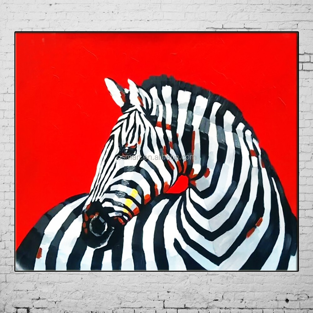 New Hand Painted Paintings Hot Animal <strong>Pictures</strong> 3D Zebra Wall <strong>Picture</strong> Abstract Red Oil Painting