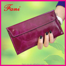 Fashion wine color genuine leather ladies clutch purse with card holder design