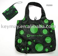reusable sold pongee foldable shopping bag with printing