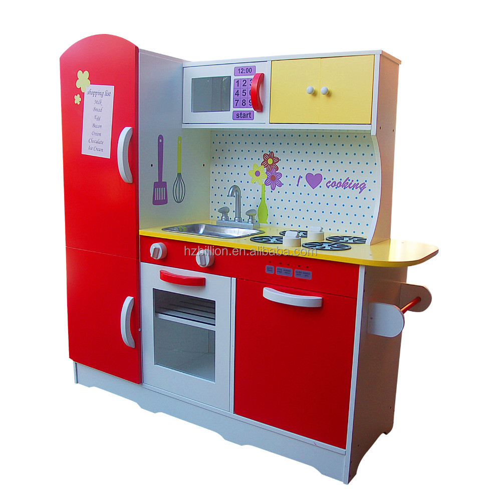 Brand New Large Wooden Red White Kids Pretend Play Kitchen Fridge Cooking Set