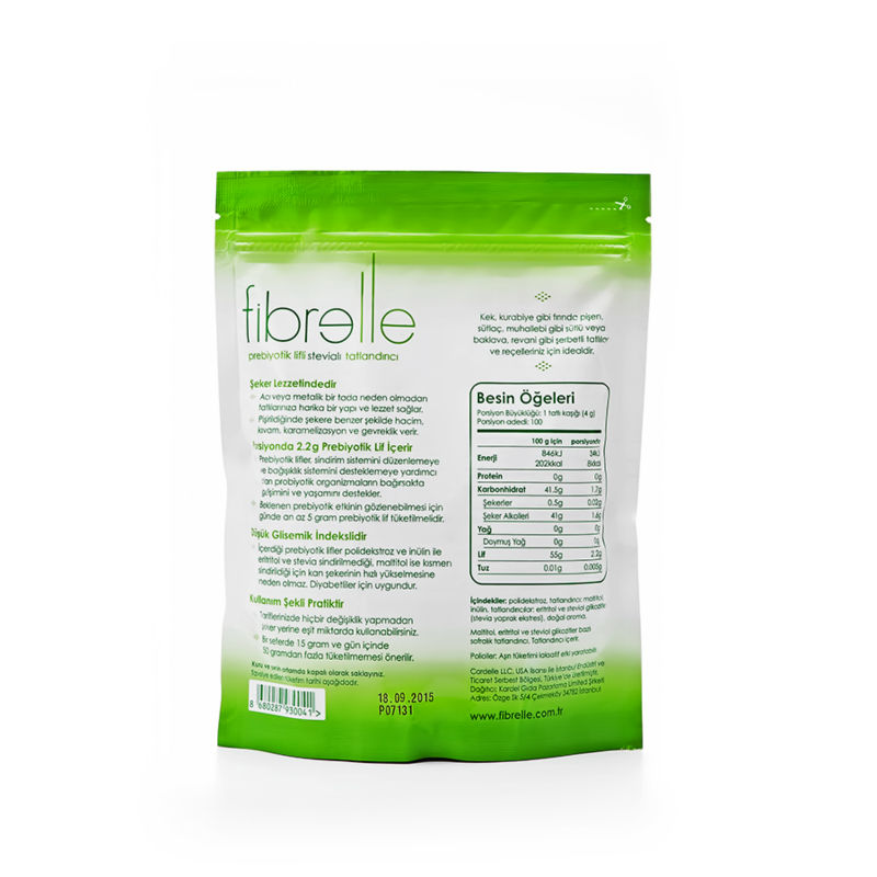 Fibrelle fiber rich sweetener with stevia for baking