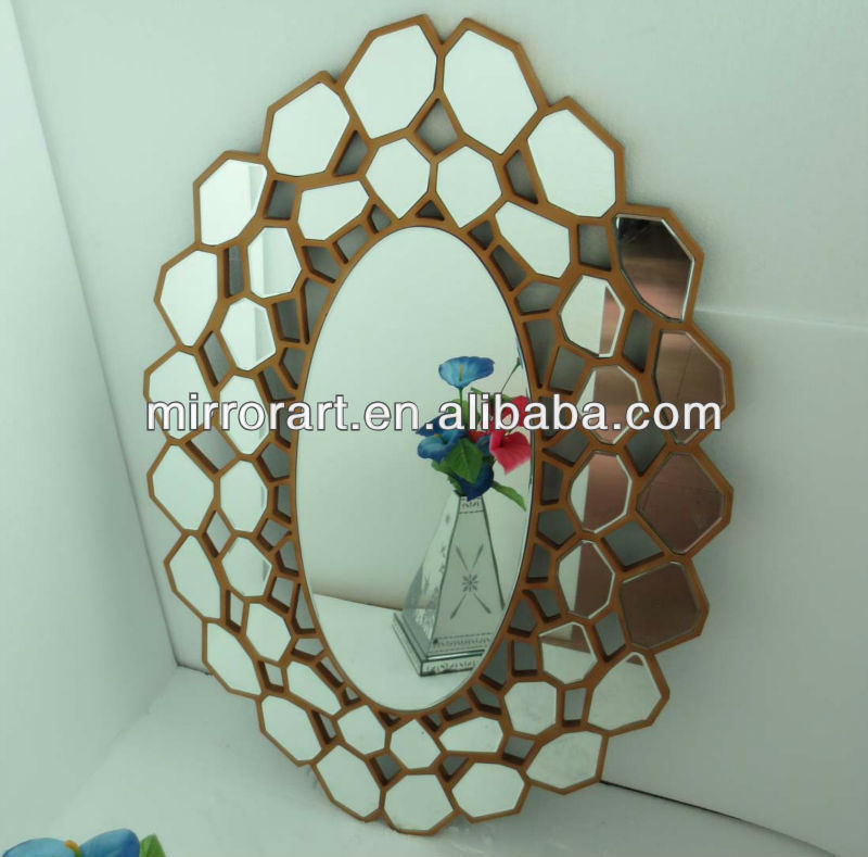 MR-201384 wooden frame entry wall mirror for home decorative