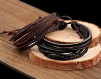 Mens Bracelets Wrap Multilayer Genuine Leather Bracelet with Braided Rope Fashion Jewelry Christmas Charm Bracelets 1300