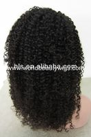 100% Indian remy hair 1# afro kinky curly full lace wig for black women