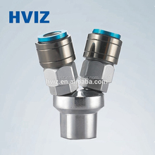 HVIZ china manufactuer self-lock female/male pneumatic 2 way/3way nitto copper pipe fitting