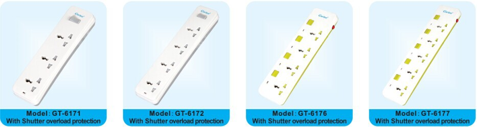 6 way outlet universal electrical overload power strip with individual switches