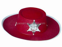 Children Red felt sheriff hat with plastic sheriff badge