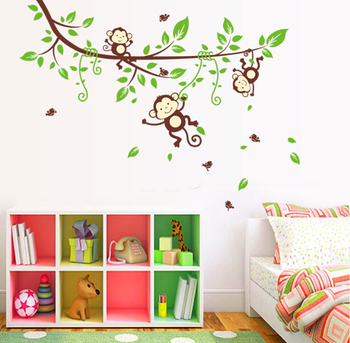 Animals Jungle Tree Monkey Owl Wall Decal Stickers Kids Baby Nursery Room Decor