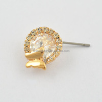 Nickel Free 18K Gold GP Crystal Clear Round Diamond Earrings Stud with Mini Butterfly