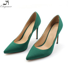 China Fashion Shoes Women Pumps Green Satin Fabric 12cm High Heel Shoes Pointed Toe Beautiful Girls Elegant Sexy Ladies Shoes