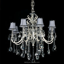 Silver Crystal Pendant Lighting with Lampshade