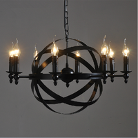 Nordic loft style round candles E14 wrought iron metal pendant indoor light chandelier lamp