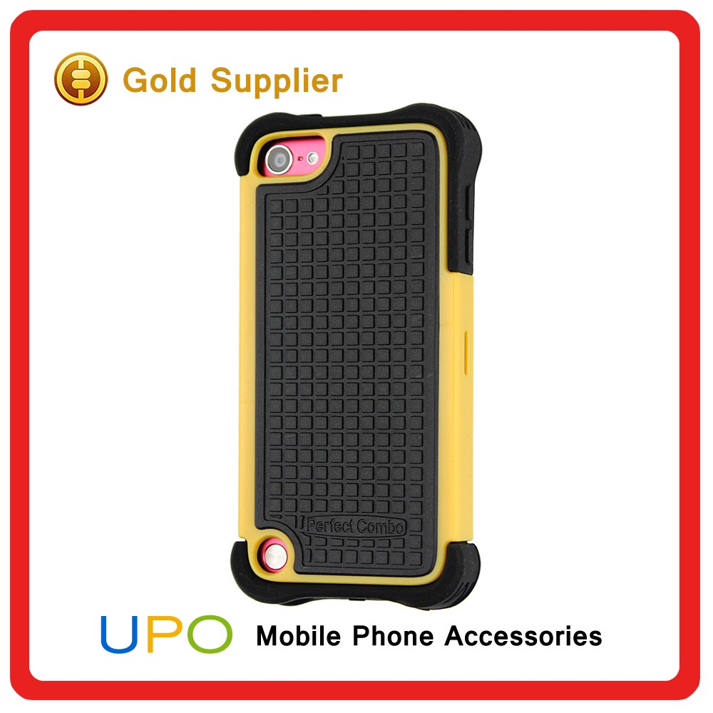 [UPO] Promotion Black Silicone Shockproof Combo Mobile Covers Case for iPod Touch 5 with Kickstand