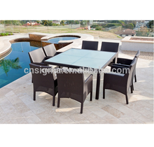 2018 Trade Assurance Sigma UV-resistant synthetic rattan dining tables chairs set