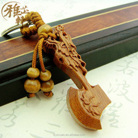 Popular Chinese Products Innovative Design Axe Shape Personalized Wood Carved Key Chain On Sale