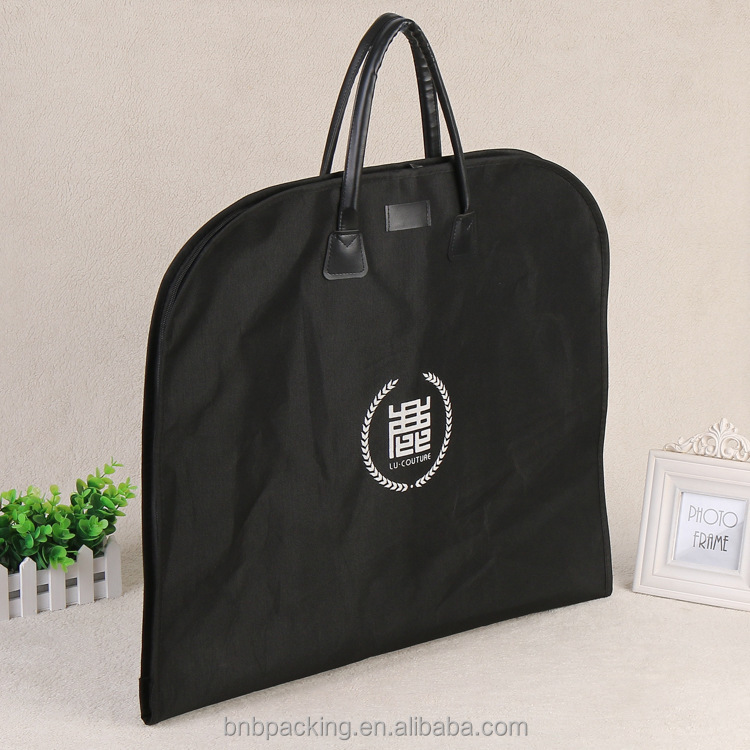 Wholesale Foldable Oxford Garment Bag with Leather Handles Dust Bag for Travelling Suit Cover Carry
